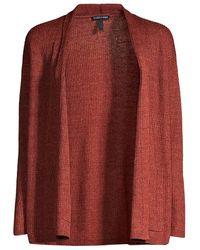 Eileen Fisher High Collar Cardigan - Red
