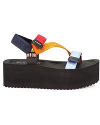 Burberry Patterson Colorblock Logo Flatform Sport Sandals - Multicolor