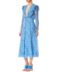 Carolina Herrera - Silk Chiffon Midi Dress - Lyst