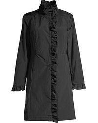 Jane Post Ruffle Trim Coat - Black