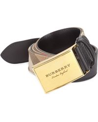 Burberry - George Grainy Leather & House Check Belt - Lyst