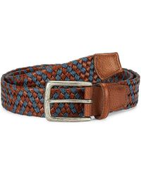 Saks Fifth Avenue Collection Woven Leather & Cotton Belt - Blue