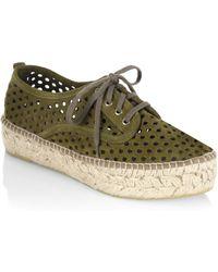 Loeffler Randall - Alfie Perforated Suede Platform Espadrille Sneakers - Lyst