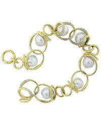 Ippolita Nova 18k Yellow Gold, 10-11mm Baroque Pearl & Diamond Chain-link Bracelet - Metallic