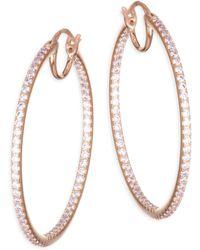Adriana Orsini - Pave Crystal Hoop Earrings - Lyst