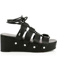 Rebecca Minkoff Iven Gladiator Platform Wedge Sandals - Black