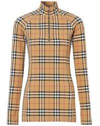 Burberry Vilan Check Print Long Sleeve Jersey Top - Natural