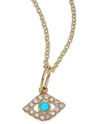 Sydney Evan - 14k Yellow Gold, Diamond & Turquoise Evil Eye Necklace - Lyst