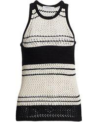 FRAME Open Knit Striped Tank - Black