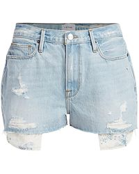 FRAME Le Beau High-rise Peeking Pocket Denim Shorts - Blue