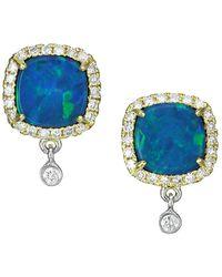Meira T 14k Yellow Gold, Diamond & Opal Square Stud Earrings - Multicolor