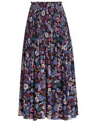 Tanya Taylor - Nicolette Smocked Floral Silk Midi Skirt - Lyst