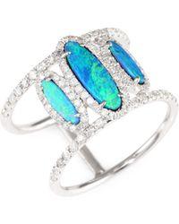 Meira T - Diamond, Opal & 14k White Gold Ring - Lyst