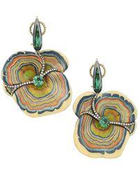 Silvia Furmanovich Marquetry 18k Yellow Gold, Green Tourmaline, Tsavorite & Light Brown Diamond Sculptural Mushroom Earrings - Metallic