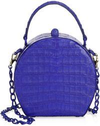 Nancy Gonzalez Billie Crocodile Box Bag - Blue