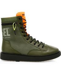 DIESEL - Cage Leather Trim Boots - Lyst
