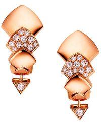 Akillis Python 18k Rose Gold & Diamond Drop Earrings - Metallic