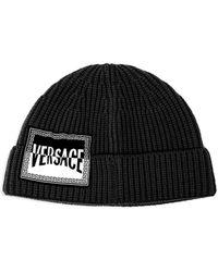 Versace - Logo Patch Wool Beanie - Lyst