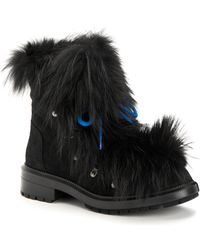Aquatalia - Lilana Suede & Fur Short Booties - Lyst