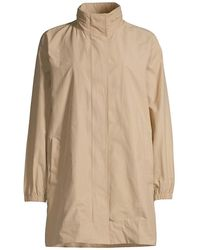 Eileen Fisher Stand Collar Longline Coat - Natural