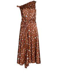 Alejandra Alonso Rojas Asymmetrical Polka Dot Dress - Brown