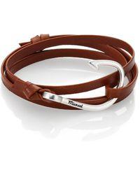 Miansai - Silver Tone Hook Leather Bracelet - Lyst