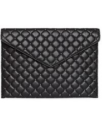 Rebecca Minkoff Leo Quilted Leather Envelope Clutch - Black