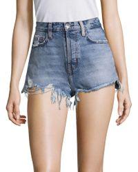 Current/Elliott - High-waist Destroyed Shorts - Lyst