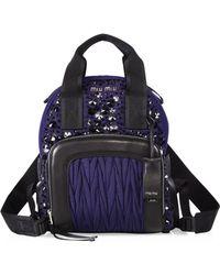 Miu Miu | Embellished Leather Trim Backpack | Lyst