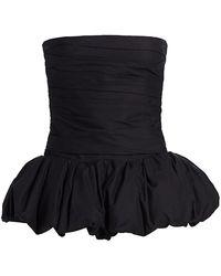 Khaite Kimmy Strapless Peplum Cotton Top - Black