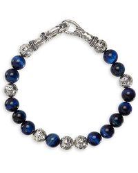 John Varvatos Mercer Sterling Silver & Tiger Eye Bead Bracelet - Metallic