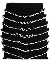 Victor Glemaud Lettuce Edge Merino Wool Mini Skirt - Black