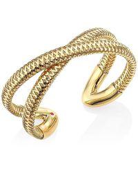 Roberto Coin Primavera 18k Yellow Gold Crisscross Cuff - Metallic