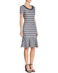 St. John - Striped Knit Dress - Lyst