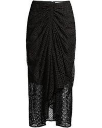 Significant Other Malia Draped Eyelet Midi Skirt - Black