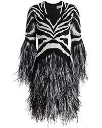 Pamella Roland Cutout Fringed Zebra-print Dress - Black