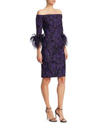 Teri Jon - Off-the-shoulder Feather & Jacquard Sheath Dress - Lyst