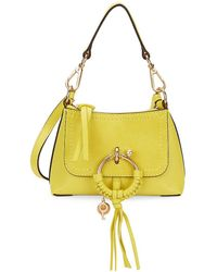 See By Chloé Mini Joan Suede & Pebbled Leather Hobo Bag - Yellow