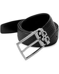Ferragamo - Gancini Reversible Embossed/smooth Leather Belt - Lyst