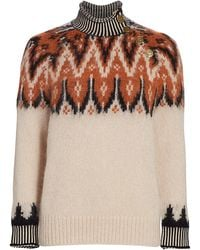 COACH Fair Isle Turtleneck Sweater - White