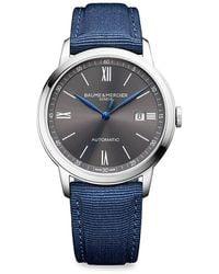 Baume & Mercier Classima 10608 Stainless Steel & Canvas Strap Watch - Blue