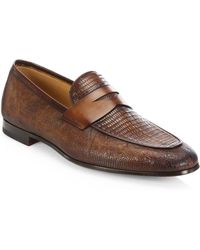 Saks Fifth Avenue - Collection By Magnanni Leather Loafers - Lyst
