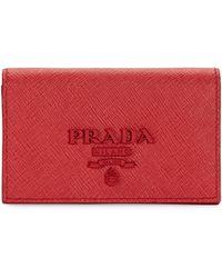 Prada - Monochrome Leather Card Case - Lyst