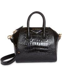 Givenchy Mini Antigona Croc-embossed Leather Satchel - Black