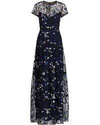 ML Monique Lhuillier Floral Embroidered Mesh Gown - Blue