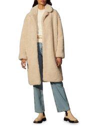Sandro Rocky Long Faux Fur Coat - Natural
