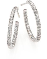 Roberto Coin - Diamond & 18k White Gold Inside-outside Hoop Earrings/0.75 - Lyst