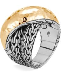 John Hardy - Sterling Silver & 18k Bonded Gold Classic Chain Hammered Crossover Ring - Lyst