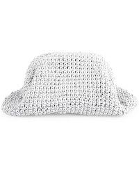 Bottega Veneta Medium The Pouch Crochet Leather Clutch - White
