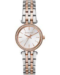 Michael Kors - Darci Petite Pavé Two-tone Stainless Steel Bracelet Watch - Lyst